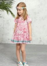 Летнее платье с принтом для девочки 5 лет