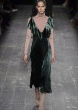 Платье из велюра  зеленое
