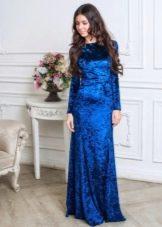 Платье из велюра синее в пол