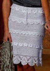 Прямая белая вязаная крючком юбка