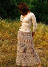 Прямая вязаная крючком юбка