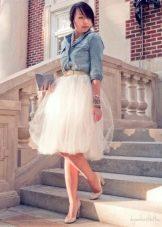 белая юбка-миди на выпускной