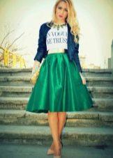 пышная юбка-миди зеленого цвета