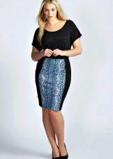 Комбинированная юбка карандаш с принтом для полных