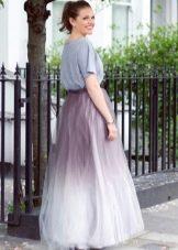 градиентно окрашенная юбка из шифона