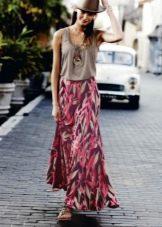 длинная летняя юбка из шифона