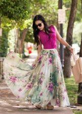 длинная юбка-солнце из шифона