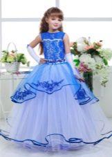 Шикарное бальное платье для девочки голубое