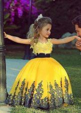 Шикарное желтое бальное платье для девочки