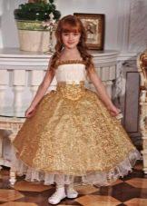 Шикарное зоолотистое бальное платье для девочки