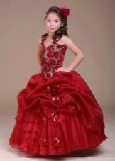 Шикарное бордовое бальное платье для девочки