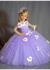 Шикарное сиреневое бальное платье для девочки