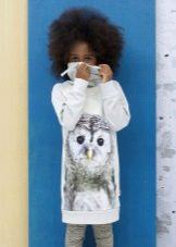 Зимнее платье трикотажное с принтом для девочек