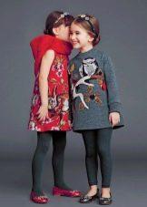 Зимние платья из твида с принтом для девочек