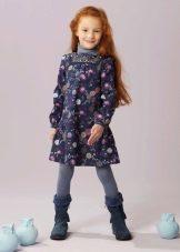 Зимнее платье с цветочками для девочек