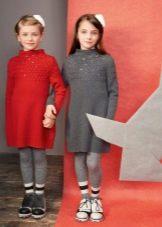 Зимнее платье-свитер трикотажное  для девочек