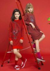 Зимнее платье красное для девочек