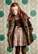 Зимнее платье с леопардовым принтом для девочек