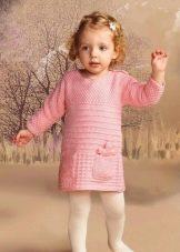 Зимнее вязаное платье с рукавами для девочек