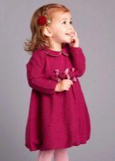 Зимнее пышное трикотажное платье для девочек