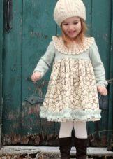 Зимнее голубое платье для девочек