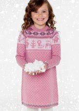 Зимнее вязаное платье с принтом для девочек