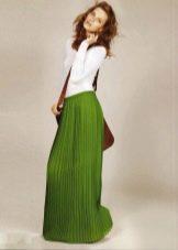зеленая юбка-плиссе на резинке