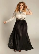 черная юбка  на резинке в пол