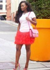 Красная юбка мини с бахромой