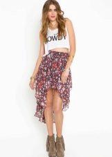 Шифоновая юбка в цветочек