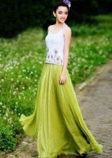 Длинная юбка солнце в пол для женщин с фигурой типа стройная колонна