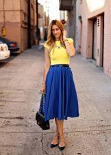 Синяя юбка колокольчик