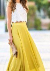 Длинная желтая юбка фото