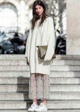 юбка из трикотажа с оборками