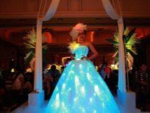 Голубое светодиодное свадебное платье