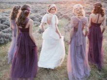 Наряды подружек в сиреневом цвете - лавандовая свадьба