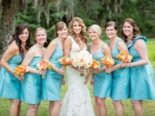 Бирюзовые платья для подружек невесты