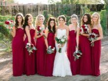 Винные бордовые платья для подружек невесты