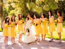 Желтые платья для подружек невесты