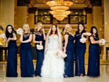 Темно-синие платья для подружек невесты