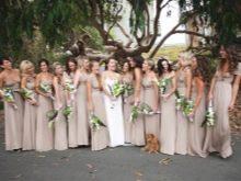 Телесные платья для подружек невесты