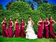 бордовые платья для подружек невесты