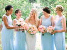 Голубые платья для подружек невесты