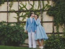 Свадебный образ невесты и жениха в голубом