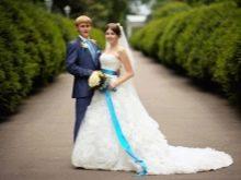 Свадебный образ молодоженов в голубом