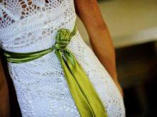 Вязанное свадебное платье крючком Чи Крнеты вид со спины