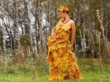 Платье из осеннее из листьев