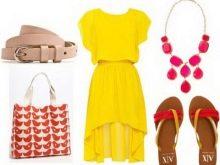 Розовые аксессуары к желтому платью