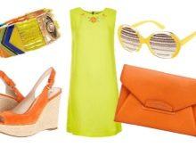 оранжевые аксессуары к желтому платью
