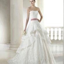 Длинное свадебное платье в стиле «принцесса» 2015 со сложным кроем